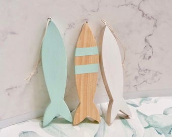 Nautical wood ornaments, rustic decor, painted fish, beach house decorations, set of 3