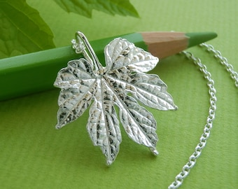 Bitter Melon /Bitter Gourd Leaf Pendant Necklace - Pure Silver Real Leaf Pendant, Botanical Jewelry