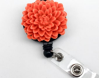 Handmade Orange Chrysanthemum Flower Cabochon Alligator Swivel Clip Retractable ID Badge Reel / Name Badges / ID Badge Holder Great Gift