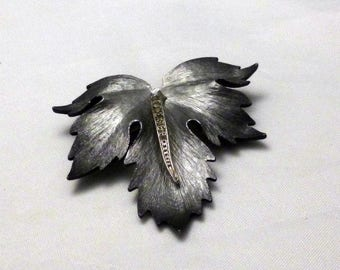Vintage Brushed Silver Gray with Rhinestones Leaf Brooch, 1960s