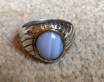 Blue lace agate southwest vintage ring.