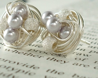 Mix It Up Series- Lavender/Star Dust- Swarovski Glass Pearl and Stardust bead Wire Wrapped Stud Earrings
