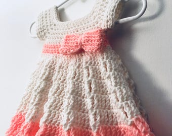 Crocheted Infant Dress with Bow