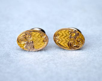 Victorian Yellow & Low Karat Rose Gold Bean Back Cufflinks