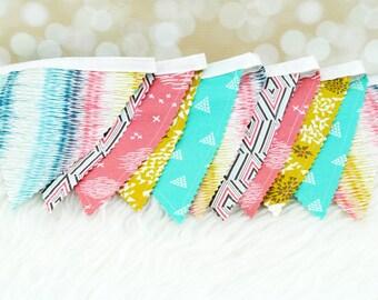 "Fabric Bunting Decoration ""Etno""  Nursery Decor, Party Decoration, Fabric Flag Bunting, Flag Garland, Fabric Garland, Fabric Pennant Banner"