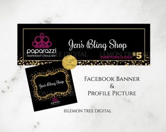Paparazzi Facebook Banner, Paparazzi Facebook Cover, Paparazzi Jewelry Consultant, Black, Gold, Glitter, PP04