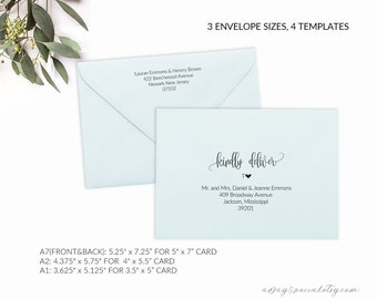 Printable Envelope Addressing Template Wedding Envelope - Wedding invitation envelope address template
