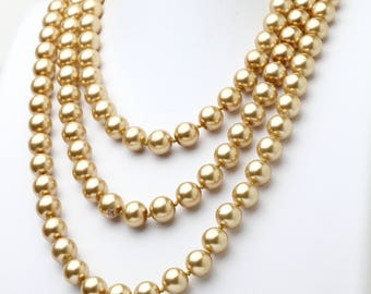 """Hand Knotted Champagne Pearl Necklace 60"""" Long Extra Long Necklace"""