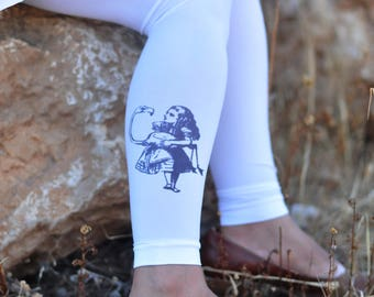 Tights -Alice in Wonderland Tights, gift for her,Valentines,Printed tights -Printed Clothes-Available in White,Beige.Weddings