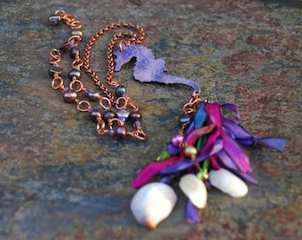 Purple Enameled Seahorse with Shells