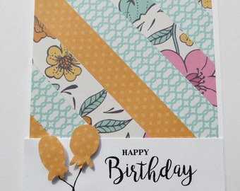 Girl Balloon Birthday Card--1 Card--The Vintage Touch--Birthday Cards for Girls