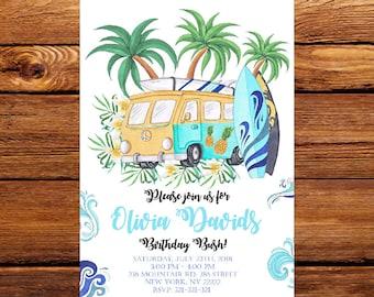 Surf's Up Birthday invitation Surf Birthday Party Printable Invitation,Watercolors Surf birthday Invitation,Beach Party Invitation 246