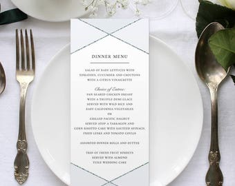 """Silver and Gold Faux Metallic Geometric Industrial Chic Menu Flat Card, 4""""x9.25"""", Printable or Printed (US Only) Menus"""