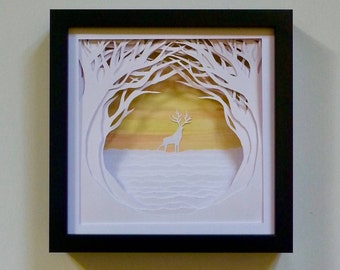 Stag Forest Scene Tree Tunnel 3D Wall Art