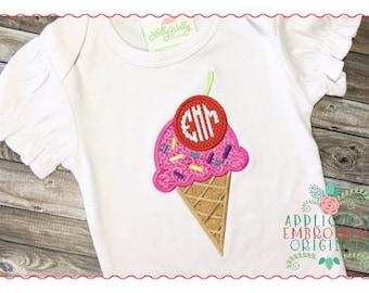 Applique and Embroidery Originals Digital Design - 258 Ice Cream Cone Summer Treat Monogram Applique Design for Summer, instant download
