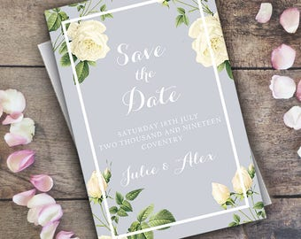 Save The Date Invitations Cards / Printable Wedding Invite / Floral Vintage / Personalised Minimal / Marriage / PDF Digital / Save the Dates