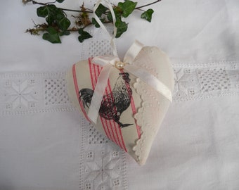 heart fabric pretty door hen and old linen scalloped satin country cushion