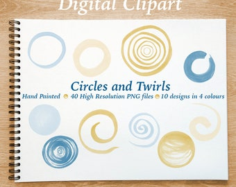 Watercolor Clipart, Circles and Twirls, High Quality Hand Painted Geometric Shapes with Transparent Background, Digital Shape Clipart