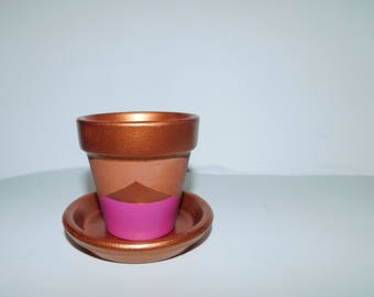 Rose gold and pink flower pot