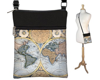 Small Crossbody Hipster Bag, Old World Map Vintage Map,  Cross Body Shoulder Bag,  eReader Case Cover, steampunk, blue black  RTS