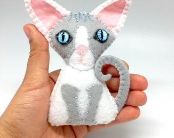 Sphynx 3D portrait Custom Cat ornament, Cat ornament, custom felt cat, personalized gift, cat memorial ornament, cat keepsakes, cat portrait