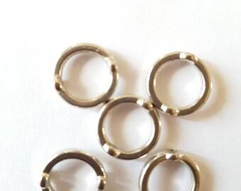 5 bead frames. Silver metal. 15 mm.
