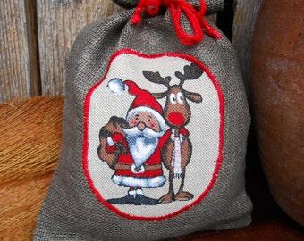 Christmas Gift Bag Scandinavian Holiday Gift Bag Santa Sack Linen Gift Bag Christmas Bag Gnome Elf Tomte Nisse Gift Wrap Swedish Christmas