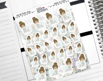 "ABIGAIL - ""Working on a Desktop"" Decorative Planner Stickers from the Little Luna and Friends Collection Series"
