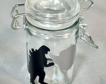 "Stache / Stash Jar ""Godzilla"""