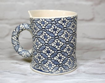 Tea Mug in Blue and White Tudor Lace pattern