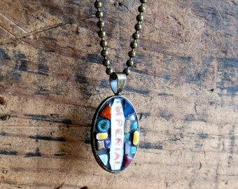 Mosaic Jewelry, Pendant Necklace, Mosaic Necklace, Vintage Imperial China, OOAK, Micro Mosaic, Small Pendant Necklace, Necklace Jewelry