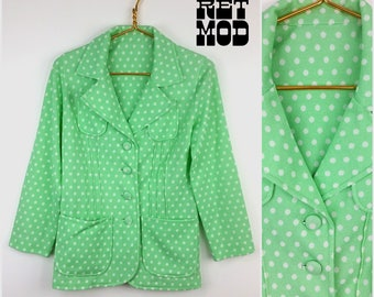 Smart & Sassy Vintage 70s Bright Mint Green and White Polkadot Blazer