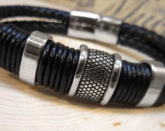Black Braided Leather Men's Bracelet with Stainless Steel lines