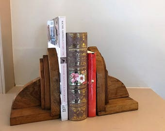 Handmade Quarter Sewn Oak Vintage Bookends