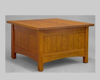 Craftsman, Arts and Crafts Coffee Table with ample storage below.