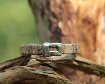 Natural cork, silver metal rectangle bead cord bracelet