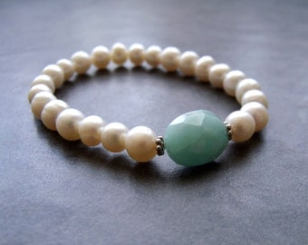 Amazonite and White Cultured Freshwater Pearl with Hill Tribe Silver Spacer Bead Stretch Friendship Stacking Bracelet