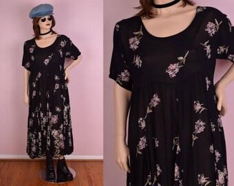 90s Floral Print Flowy Dress/ Large/ 1990s