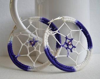 Dream Catcher earrings - Big hoop earrings - big purple earrings - Boho earrings - Music festival - girlfriend gift idea - Whimsical