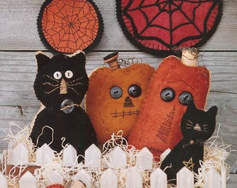 Primitive Cloth Doll PATTERN - Black Cat...Orange Pumpkins - WSD126