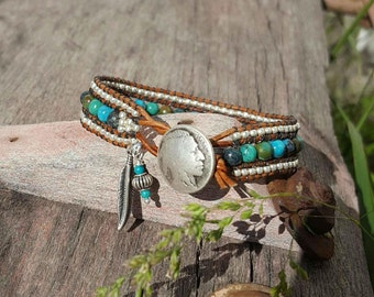 Turquoise, Greek Leather Wrap Bracelet