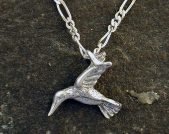 Sterling Silver Hummingbird Pendant on a Sterling Silver Chain