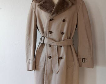 London Fog Trench with Faux Fur Collar
