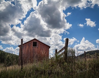 Barn and Sky Fine Art Photography Red Barn Blue skies New Mexico rural route Rustic home decor Ranch house chic Country Style Farm large art