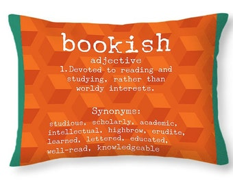 BOOKISH LUMBAR PILLOW accent cushion 20x14, pillow cover, cushion cover, conversation piece, home decor, novelty pillow, dorm decor