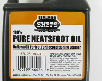 Sheps 100% pure Neatsfoot Oil reconditioning leather Crafting clothing Boots 8 oz jug