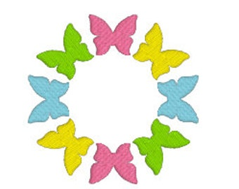 """BUY 2 GET 1 FREE - Butterfly Circle Or Monogram Frame Machine Embroidery Design in 2 Sizes 4x4"""" or 5x7"""" Spring, Easter, Filled Butterflies"""
