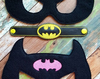 Bat Hero Felt Mask and Bracelet * Pink or Yellow * Birthday Party * Favors * Halloween * Playtime