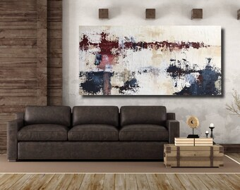 Large Original Abstract Painting, Texture Painting, Modern Abstract Painting, Red, Maroon, Blue, Navy, White, Cream, by JMack