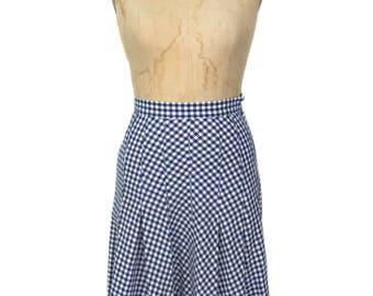 jupe Vichy années 1930 / bleu blanc / coton à carreaux jupe / jupe d'été de printemps / cru des femmes jupe taille moyenne